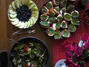 Salad and fruit dish